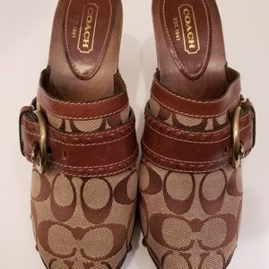 Coach Brown Signature Sable Mules